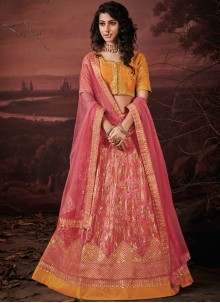 Pink Silk Embroidered Designer Lehenga Choli
