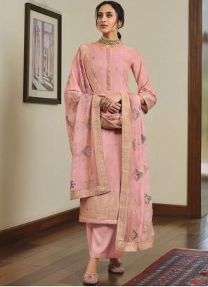 Pink Silk Festival Designer Palazzo Suit