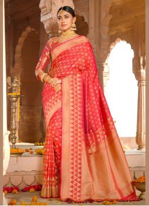 Pink Weaving Silk Saree