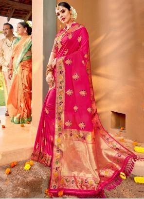 Pink Silk Weaving Classic Saree