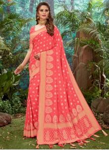 Pink Silk Weaving Designer Saree