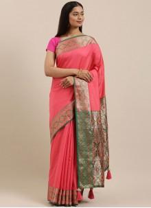 Pink Silk Woven Designer Saree