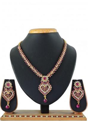 Pink Stone Work Mehndi Necklace Set