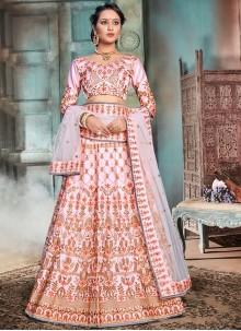 Pink Thread Mehndi Designer Lehenga Choli