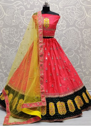 Pink Thread Silk Lehenga Choli