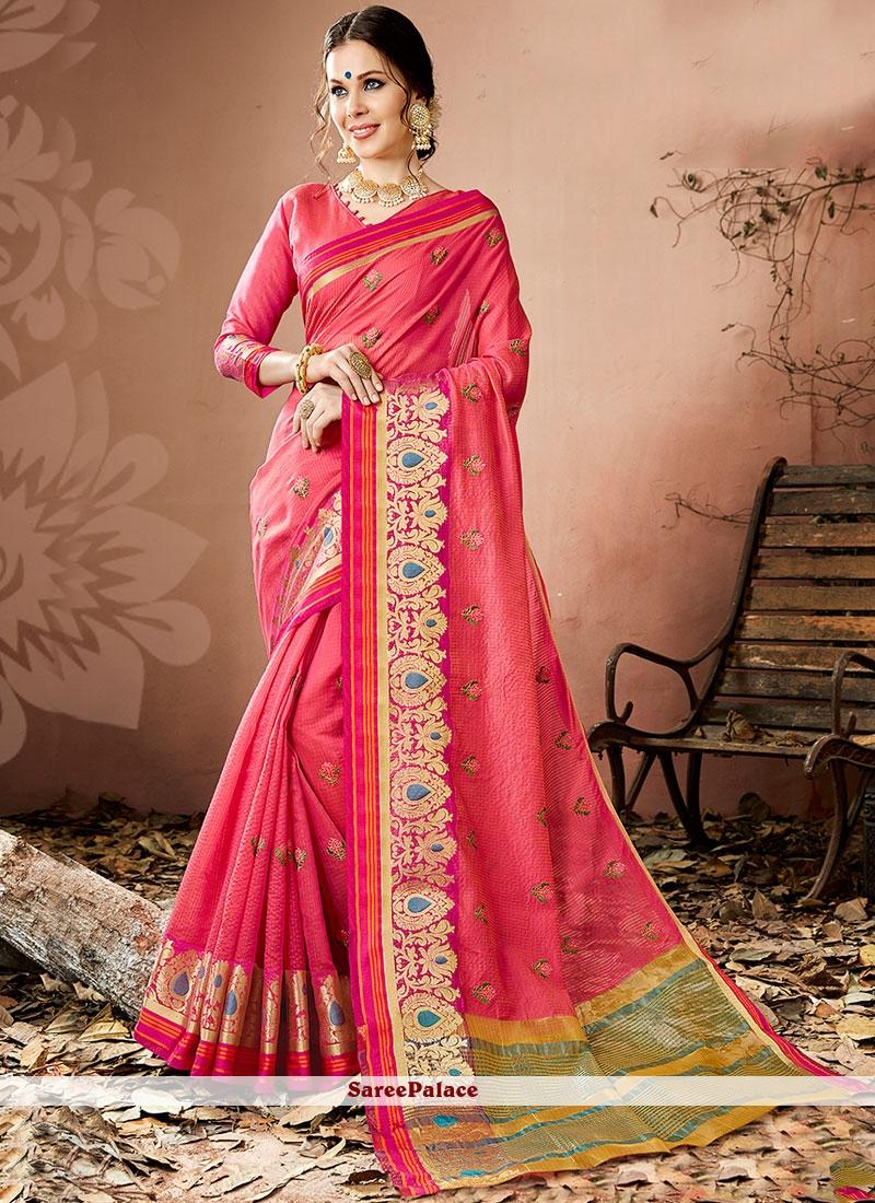 Pink Thread Work Work Cotton Silk Traditional  Saree