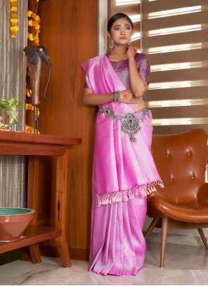 Pink Raw Silk Traditional Saree