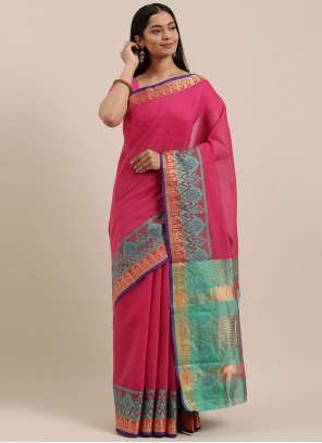 Pink Woven Work Traditional Saree