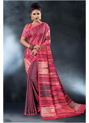 Pink Tussar Silk Print Saree