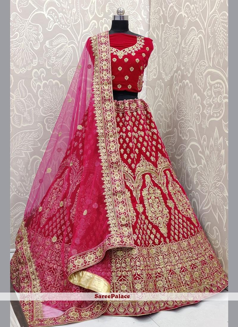 Pink Velvet Bridal Designer Lehenga Choli