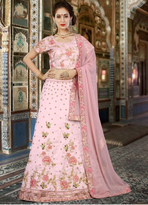 Pink Velvet Embroidered Lehenga Choli