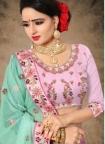 Pink Velvet Lehenga Choli