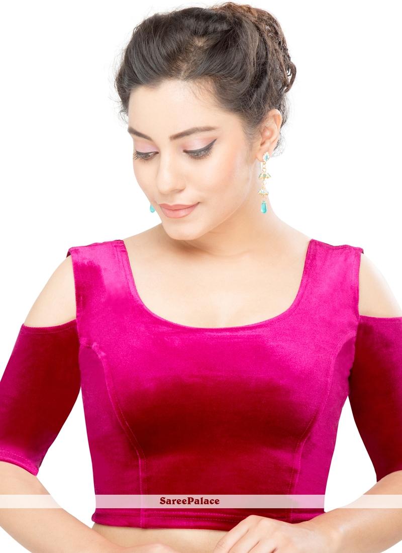 Buy Pink Velvet Plain Designer Blouse Online