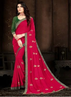 Pink Vichitra Silk Classic Saree