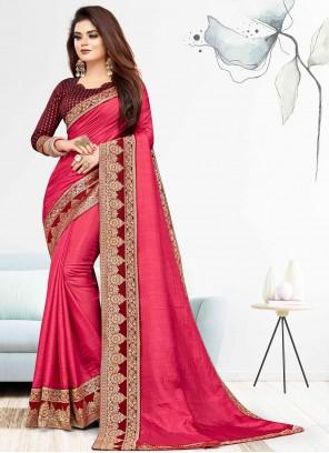 Pink Vichitra Silk Traditional Saree