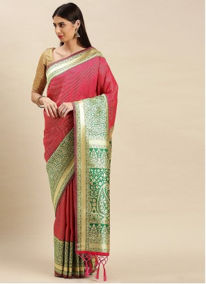 Pink Weaving Banarasi Silk Designer Traditional Saree