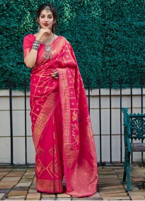Pink Weaving Classic Saree