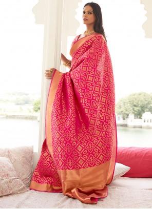 Pink Weaving Contemporary Saree