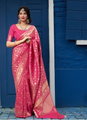 Pink Weaving Designer Saree