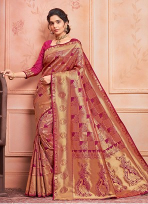 Pink Weaving Festival Traditional Designer Saree