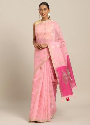 Pink Weaving Linen Casual Saree