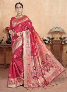 Pink Weaving Party Silk Saree