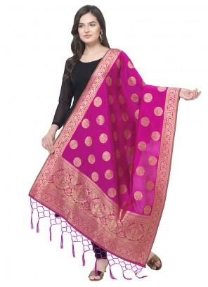 Pink Weaving Sangeet Designer Dupatta