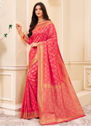 Pink Weaving Silk Classic Saree