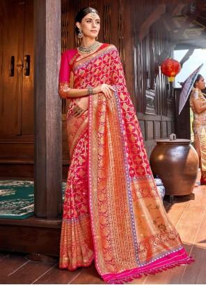 Pink Weaving Silk Contemporary Saree