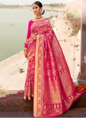 Pink Weaving Silk Designer Saree