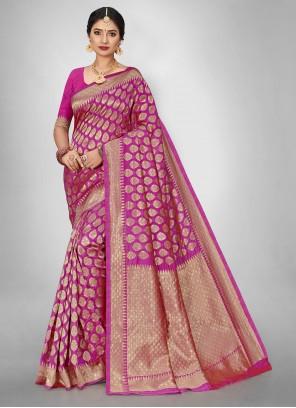 Pink Jacquard Weaving Silk Saree