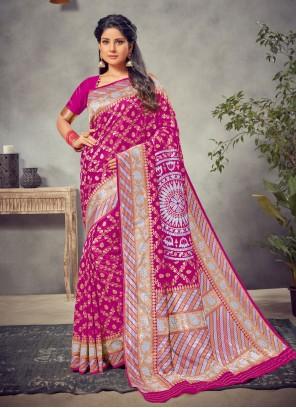 Pink Weaving Silk Silk Saree