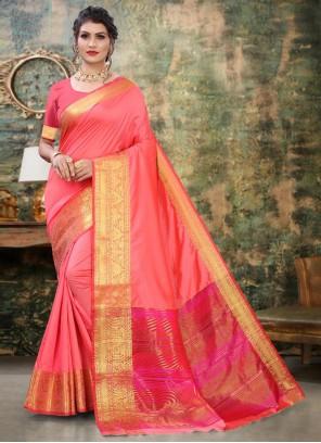 Pink Weaving Silk Trendy Saree