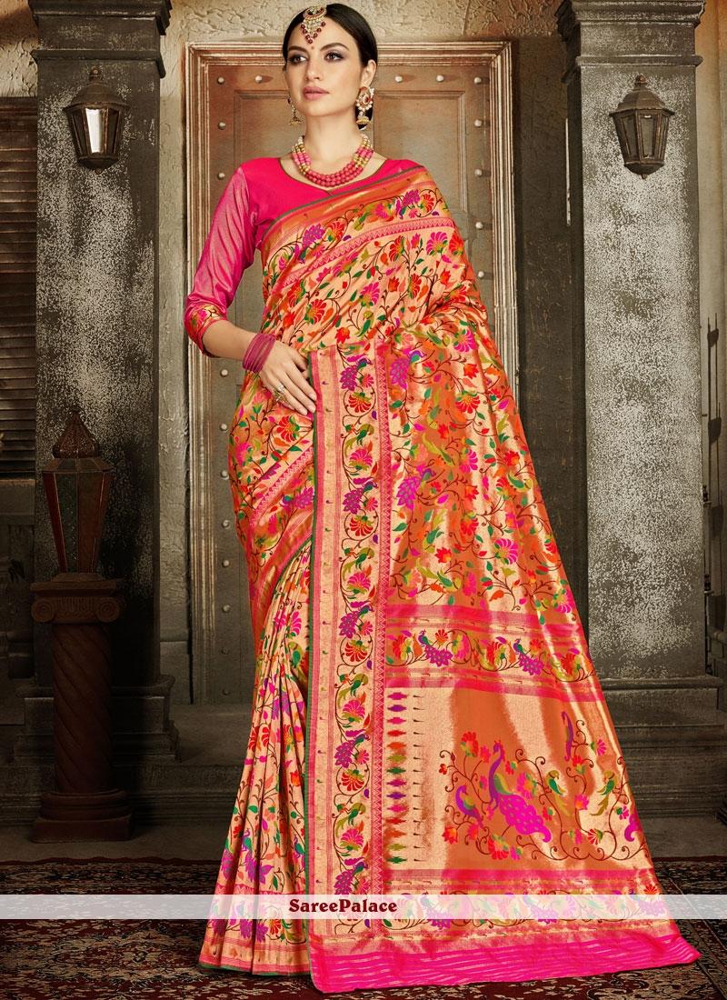 Pink Weaving Wedding Classic Designer Saree