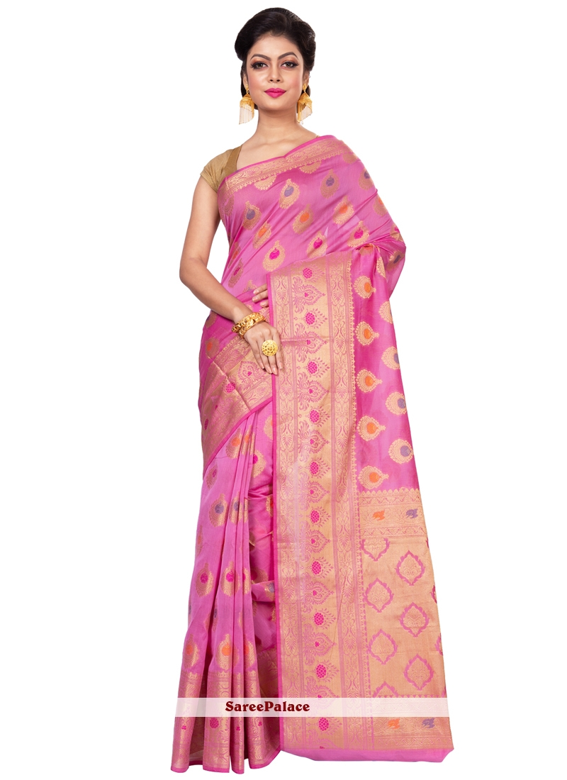 Pink Weaving Work Banarasi Silk Designer Traditional Saree