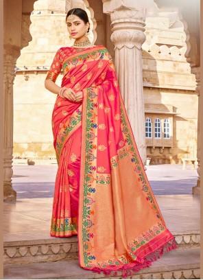 Pink Wedding Banarasi Silk Classic Saree
