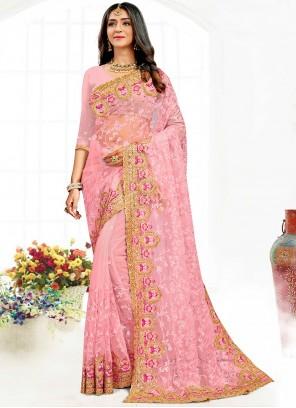 Pink Wedding Net Classic Designer Saree