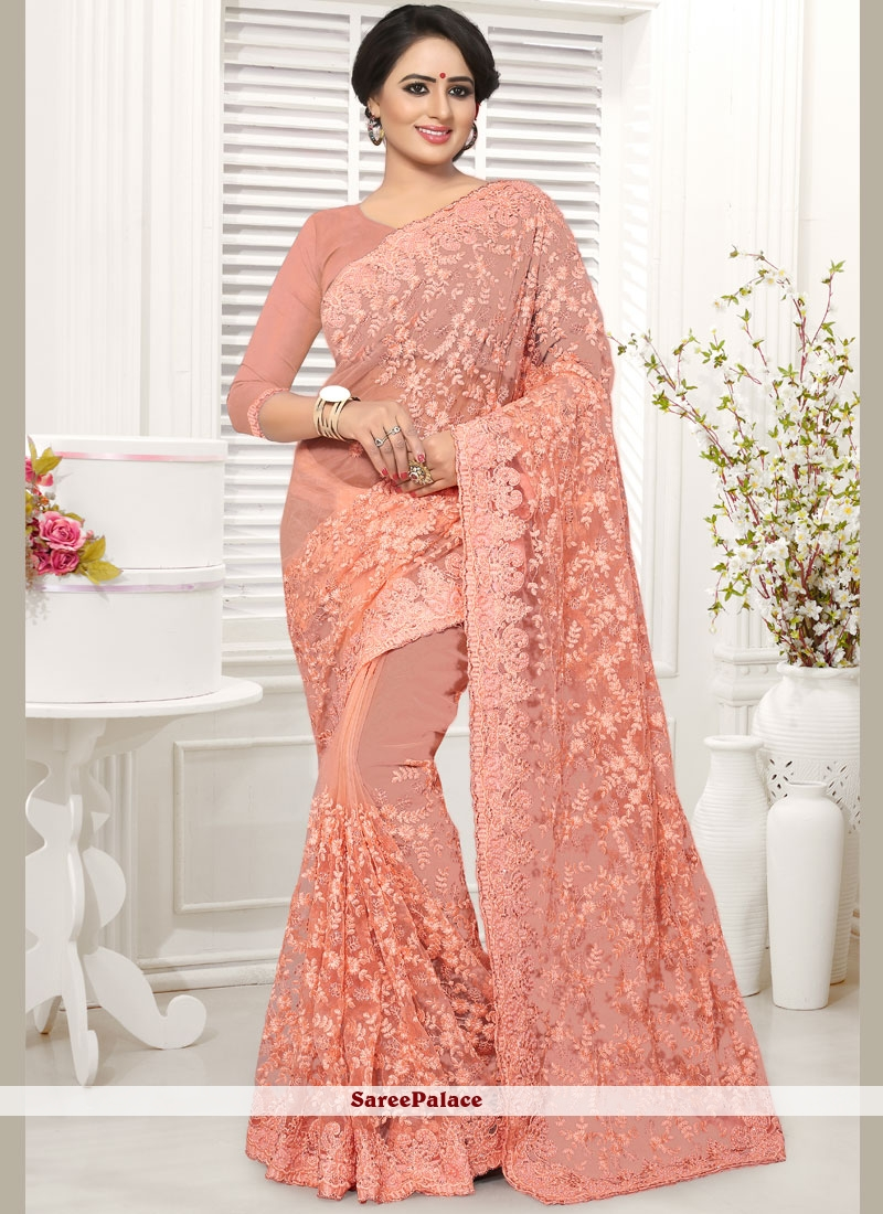 Pink Wedding Net Designer Saree