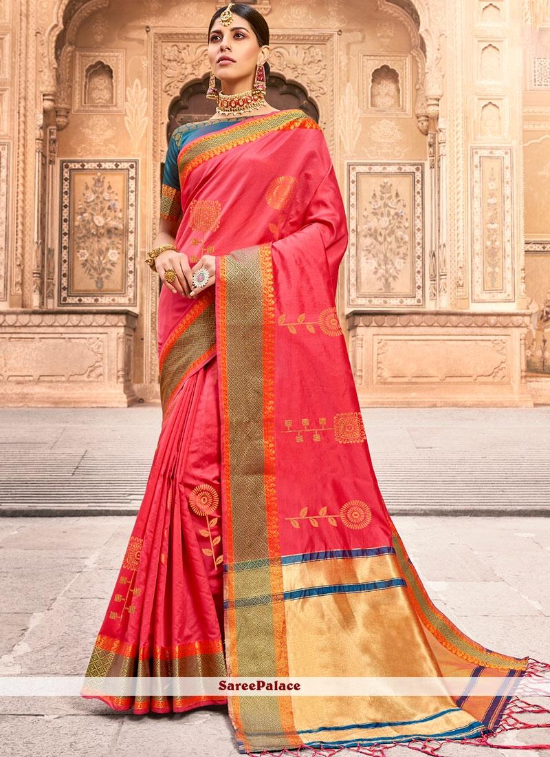 Pink Woven Art Silk Designer Traditional Saree