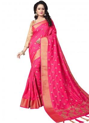 Pink Woven Art Silk Traditional Saree