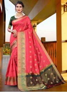 Pink Woven Ceremonial Designer Traditional Saree