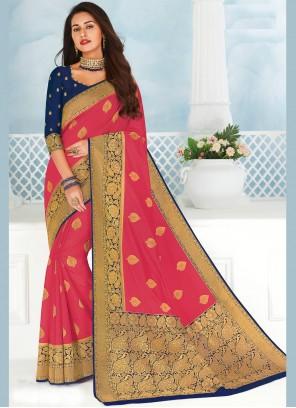 Pink Woven Designer Saree