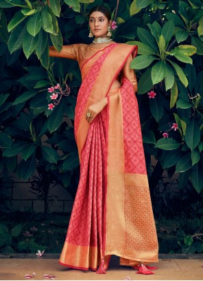 Pink Woven Engagement Traditional Saree