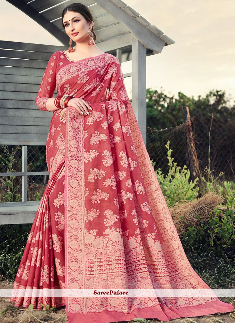 Pink Woven Festival Classic Designer Saree