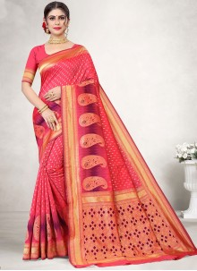 Pink Woven Festival Designer Traditional Saree