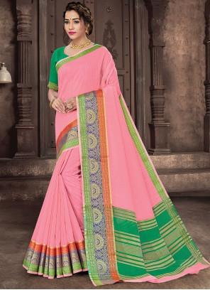 Pink Woven Handloom Cotton Traditional Saree