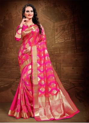 Pink Woven Party Designer Saree