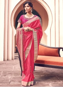 Pink Woven Party Trendy Saree