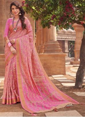 Pink Woven Traditional Designer Saree