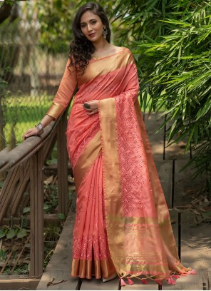 Pink Woven Silk Traditional Saree